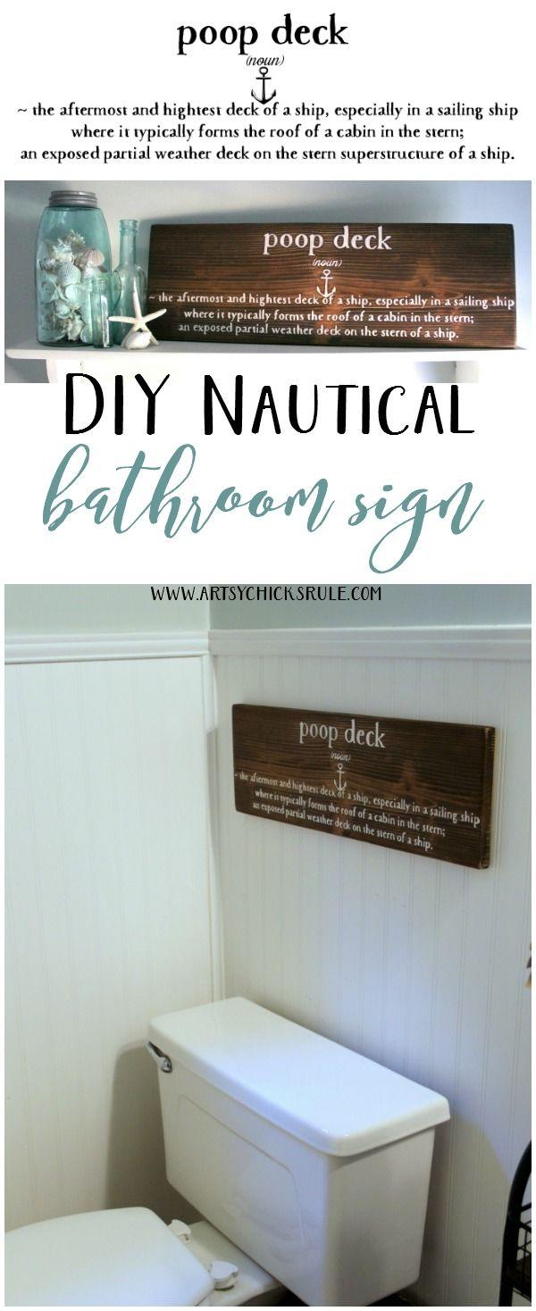 Everyone needs this!! DIY Nautical Bathroom Sign - Poop Deck Sign - Silhouette Cameo - artsychicksrule.com