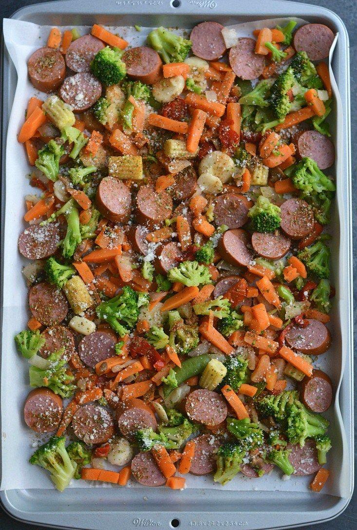 Meal Prep Sausage & Veggies - sliced turkey sausage, frozen mixed veggies, garlic powder, oregano, parsley, paprika, grated Romano cheese/nutritional yeast (optional)