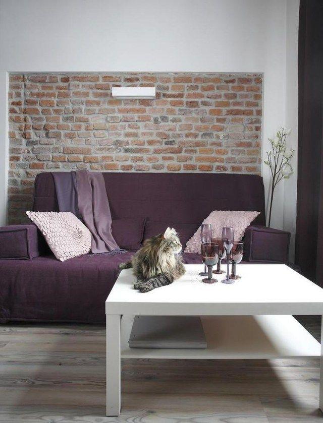 Die besten 25 lila sofa ideen auf pinterest lila sofa design lila wohnzimmersofas und lila - Backsteinwand wohnzimmer ...