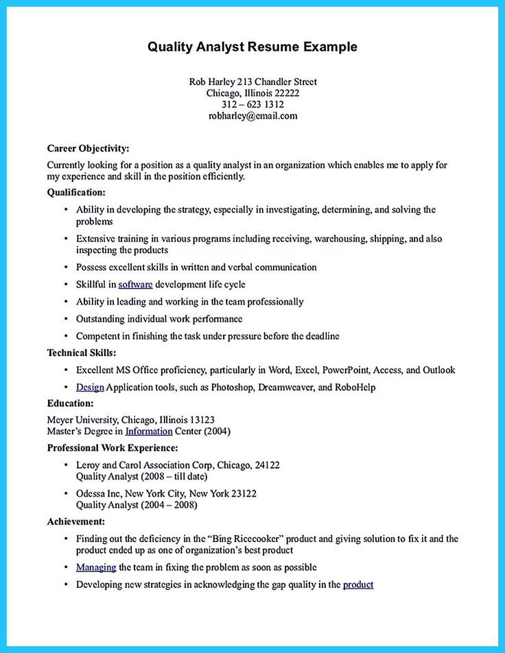 If you are a business analyst and you just seeking for a job in a - quality analyst sample resume