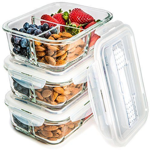 5c1f8116b5ec 3-Pack] Glass Meal Prep Containers 3 Compartment - Food ... | Food ...