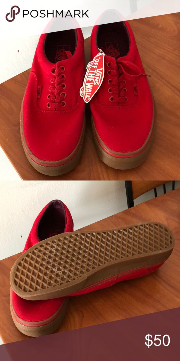 All red Vans. Brand new shoes never been worn and the tag is still on them. Nothing is wrong with them they were given as a gift but we just didn't like the color. Vans Shoes Sneakers