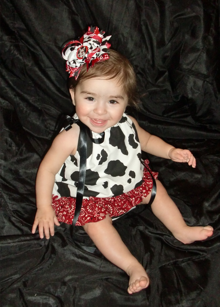 Cowgirl Baby Pillowcase Dress and ruffle bloomers Black and White Cow Print and Bandana fabric Made To Order sizes  0-3 months to 2T. $33.99, via Etsy.