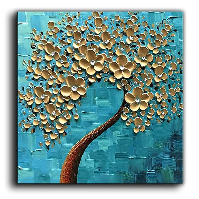 Baccow 100 Hand Painted 3d Texture Floral Contemporary Art Oil Painting On Canvas M Abstract Tree Painting Flower Painting Canvas Contemporary Painting Ideas