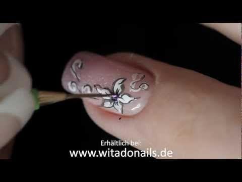 Nailart - Filigrane Muster Nageldesign ganz einfach mit Witadonails Pinseln! - YouTube