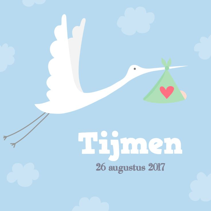 Geboortekaartje: Ooievaar met baby in doek op blauwe lucht met wolkjes achtergrond. Dit geboortekaartje is verkrijgbaar bij #kaartje2go voor €1,99