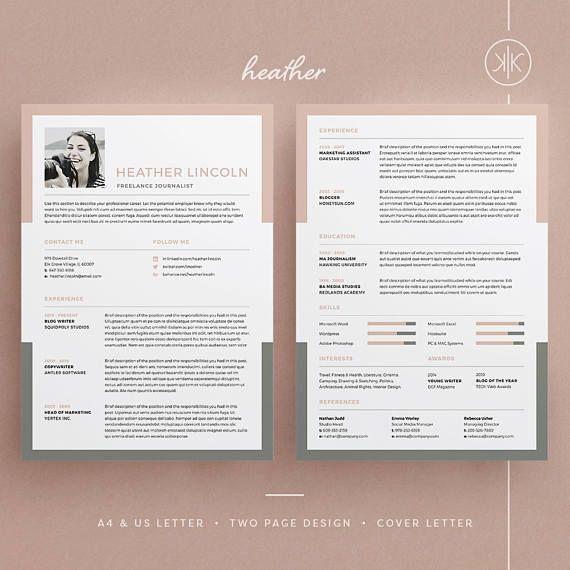 Heather Resume/CV Template Word Photoshop InDesign