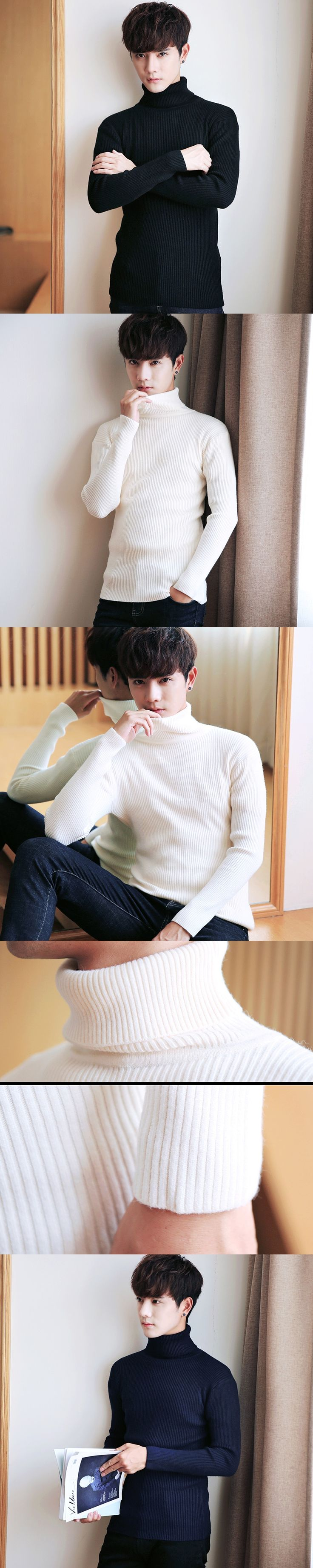 XMY3DWX 2017 New Autumn Winter Brand Sweater Men's Turtleneck Slim Pullover Solid Color Knitted Sweater Men slim Fit Knit shirt