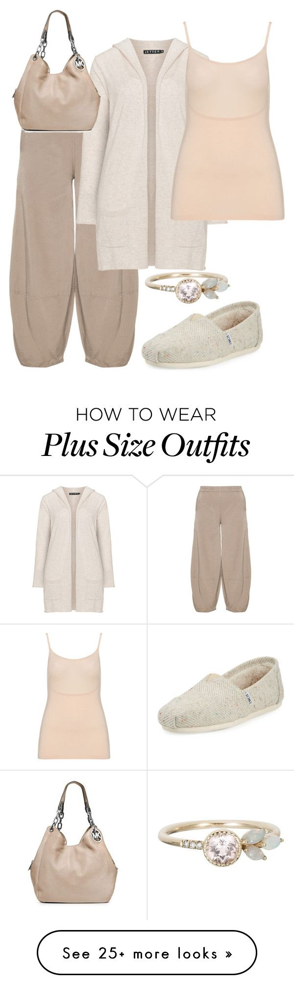 """""""plus size sherry"""" by aleger-1 on Polyvore featuring Kekoo, Jette, TOMS, SPANX and MICHAEL Michael Kors"""