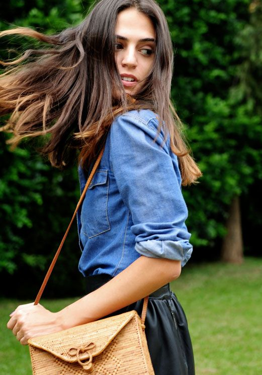 Jean shirt with black leather skirt, hmmm.