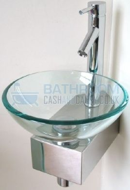Cloakroom Sink Glass Wash Basin Small Compact Clear Round 310 Corner Inc Bottle Trap, Click Clack Waste, Tap