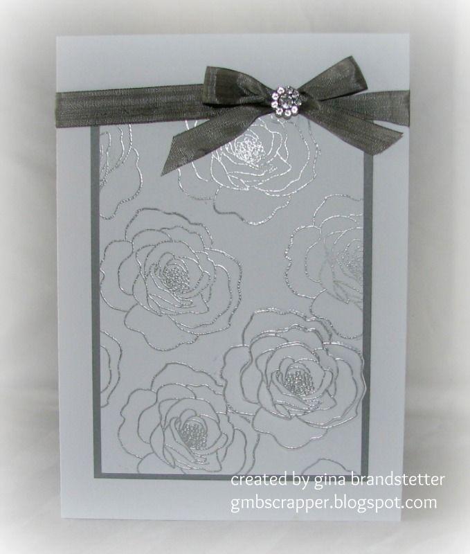Gina's Little Corner of StampinHeaven: Silver Embossed Wedding Card