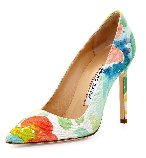 This Bud's For You - Manolo Blahnik's BB floral-print watercolor canvas pump, available at Saks Fifth Avenue