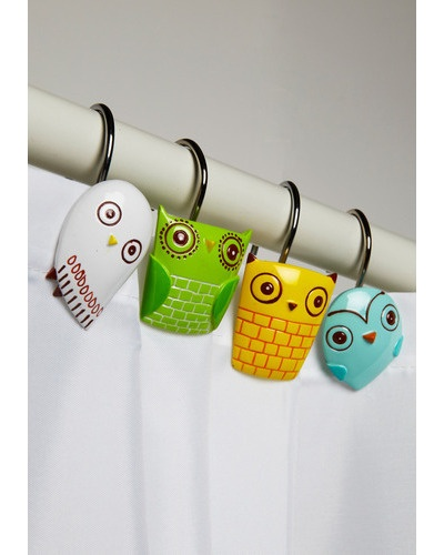 Owl Clean Shower Curtain Rings: Showers, Shower Curtain Rings, Clean Shower Curtains, Shower Hooks, Owl Clean, Showercurtain, Bathroom, Owls, Owl Shower