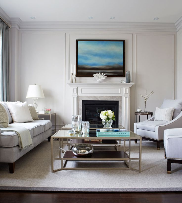White Living Room 1 With Neutral Furniture Champagne Metallic Coffee Table And Paneled Walls