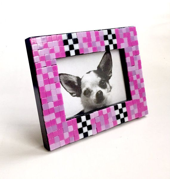 pink black mosaic tile frame small photo frame pink check mosaic frame mini - Mosaic Picture Frames