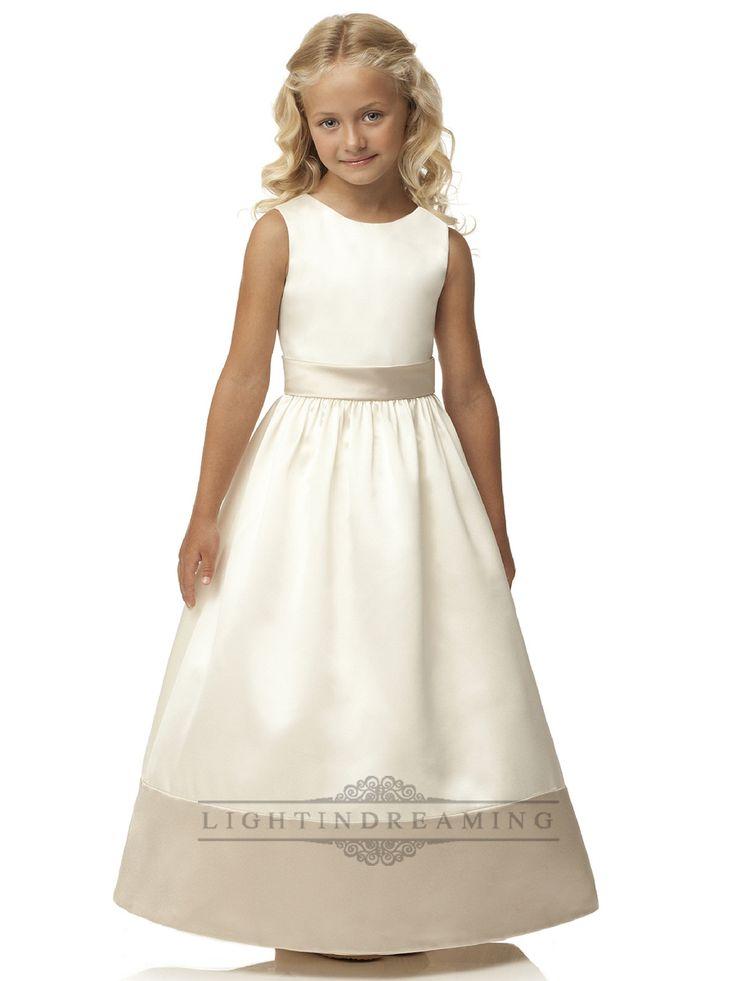 Jewel Neckline Sleeveless Flower Girl Dresses with Wide Sash
