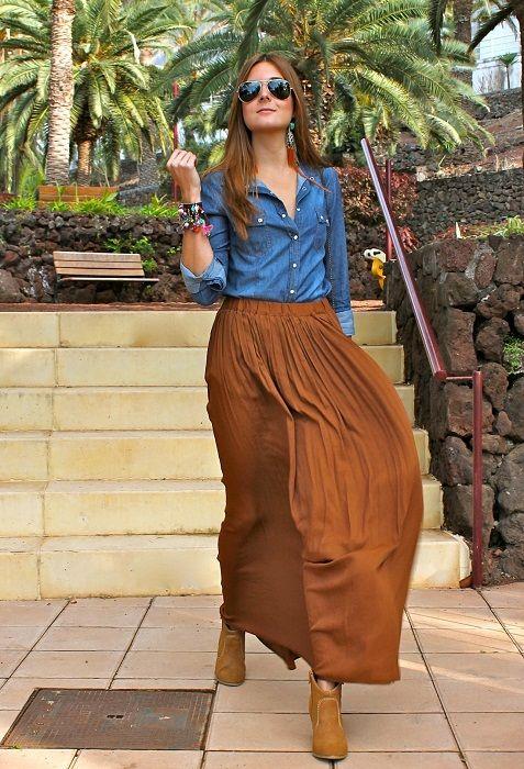 Long skirt+ Denim shirt = niiiice shirt camisa maxi falda skirt larga botines