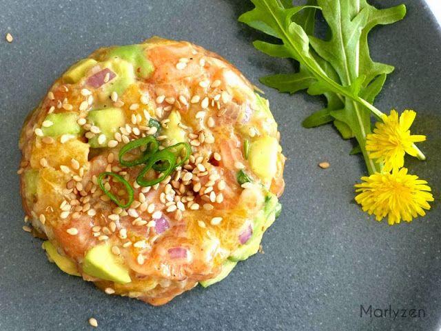 Tartare de saumon à la mangue, avocat et concombre.