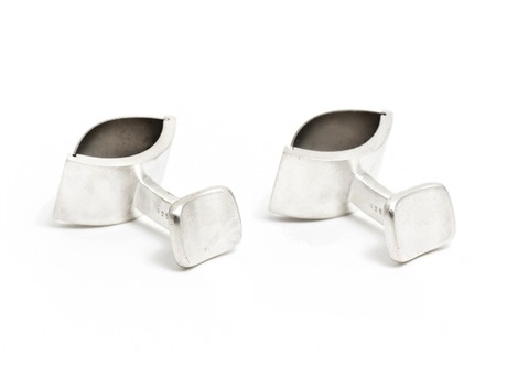 'Tension cufflinks' by David Parker  Sterling silver, titanium  Available in store and online  http://egetal.com.au/store/product/DAP241