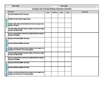 comparison contrast essay rubric