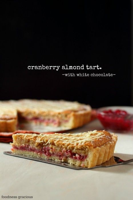 In season in November - cranberries. This cranberry almond tart with white chocolate would make a lovely alternative for anyone who isn't keen on Christmas pudding #food #recipe