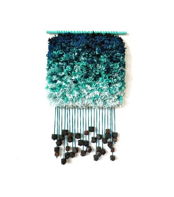 Handwoven Tapestry - Furry Cloudy Teardrops