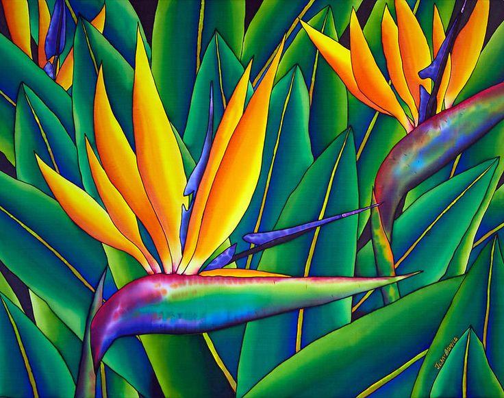 Best 268 flower art bird of paradise images on pinterest bird of jean baptiste silk painting of bird of paradise flower mightylinksfo