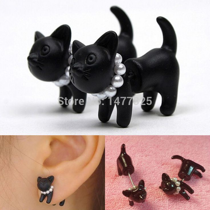 Woman Lady Girl Black Cat Pearl  Puncture Ear Jewelry Note :this is for one piece,not one pair. Retail price:$0.46/piece