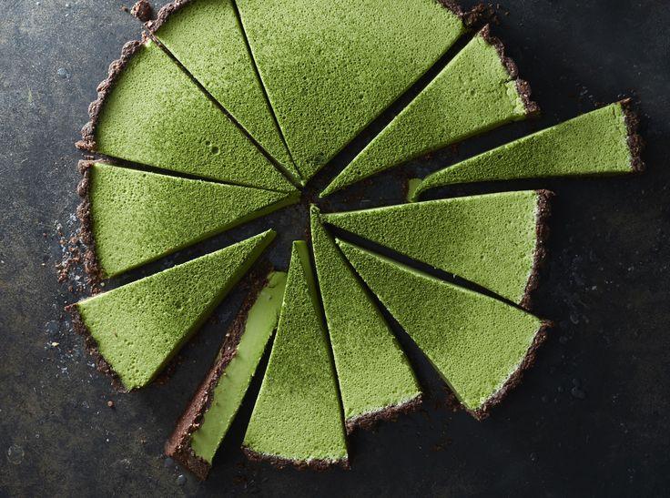 Matcha coconut custard tart with chocolate crust