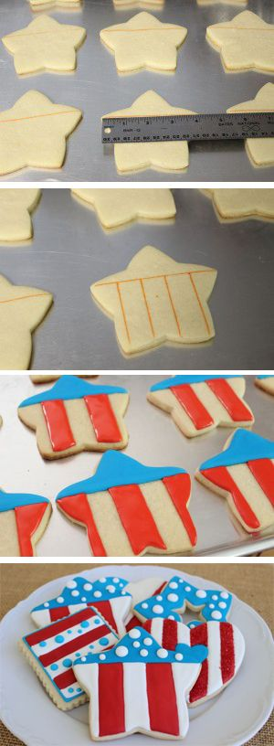 Easy Step by Step 4th of July Cookies - by Auntie Bea's Bakery
