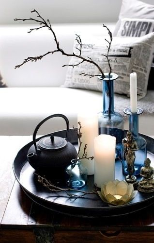coffee table decor / candles / lotus candle / white and blue #tray #tray_settings