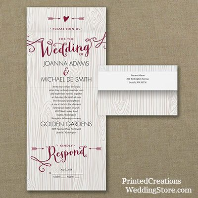 Woodsy Arrows Seal U0027n Send Wedding Invitation   Charming Rustic Country  Wedding Invite With Heart