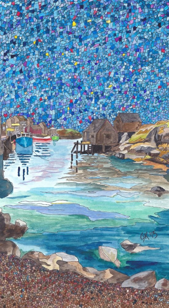 This is an ink and watercolour that I did of Peggy's Cove, in Nova Scotia, Canada.  It was close to my home.  We couldn't wait for visitors so that we could take them there. Beautiful fishing village!