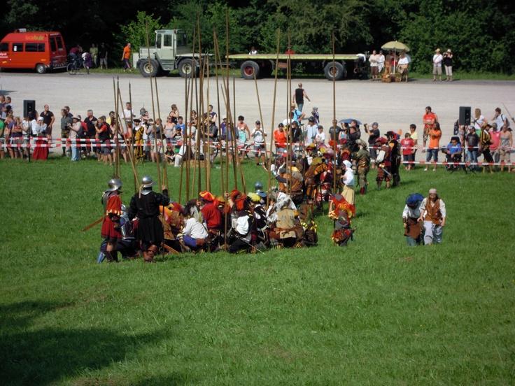 Medieval pageant at Mindelheim / Germany. Landsknechte fighting the battle of Peutelstein