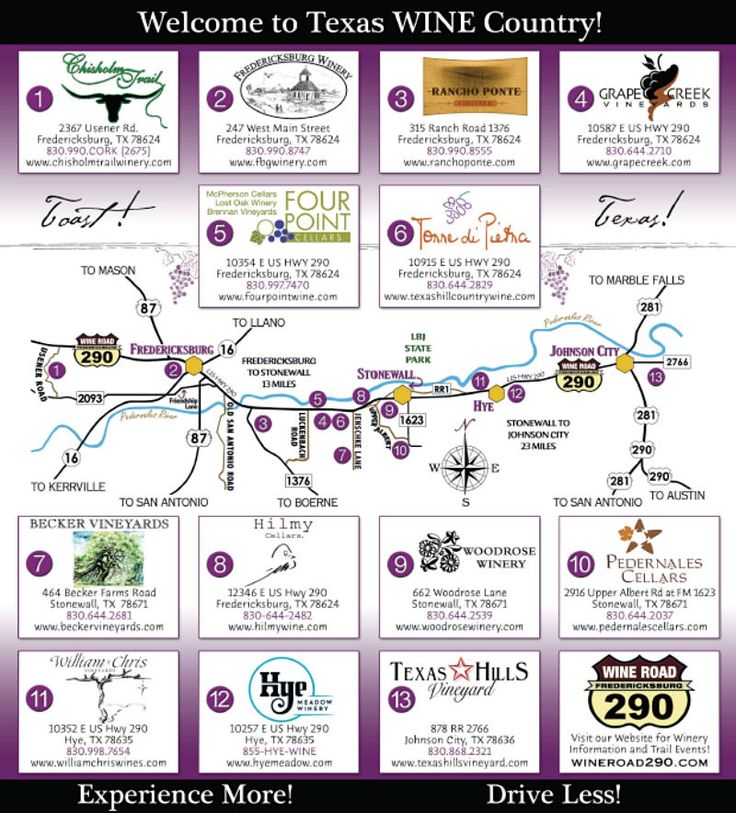 Wine Road 290 - 13 Texas wineries along US Highway 290 near Fredericksburg, Texas