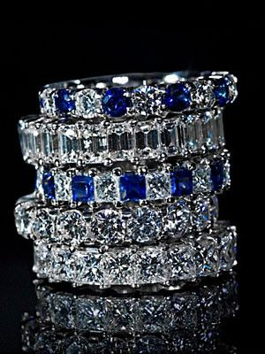 Diamonds  Sapphires Stackable Rings♥ Sapphires are the most beautiful stone. Some day I will own a ring just like these...a girl can dream lol!!