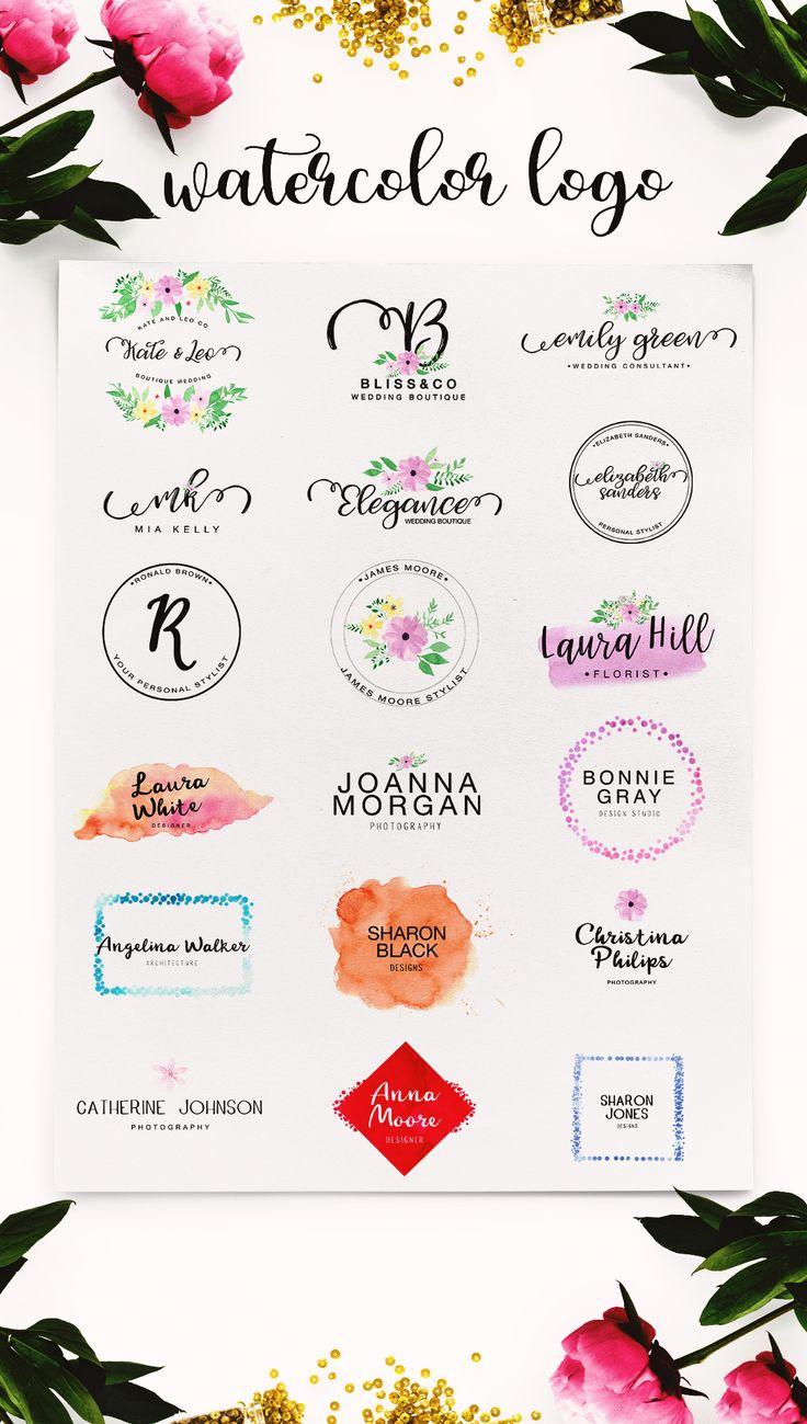 Watercolor Logo Kit 8 Fonts Logotipo criativo, Design de