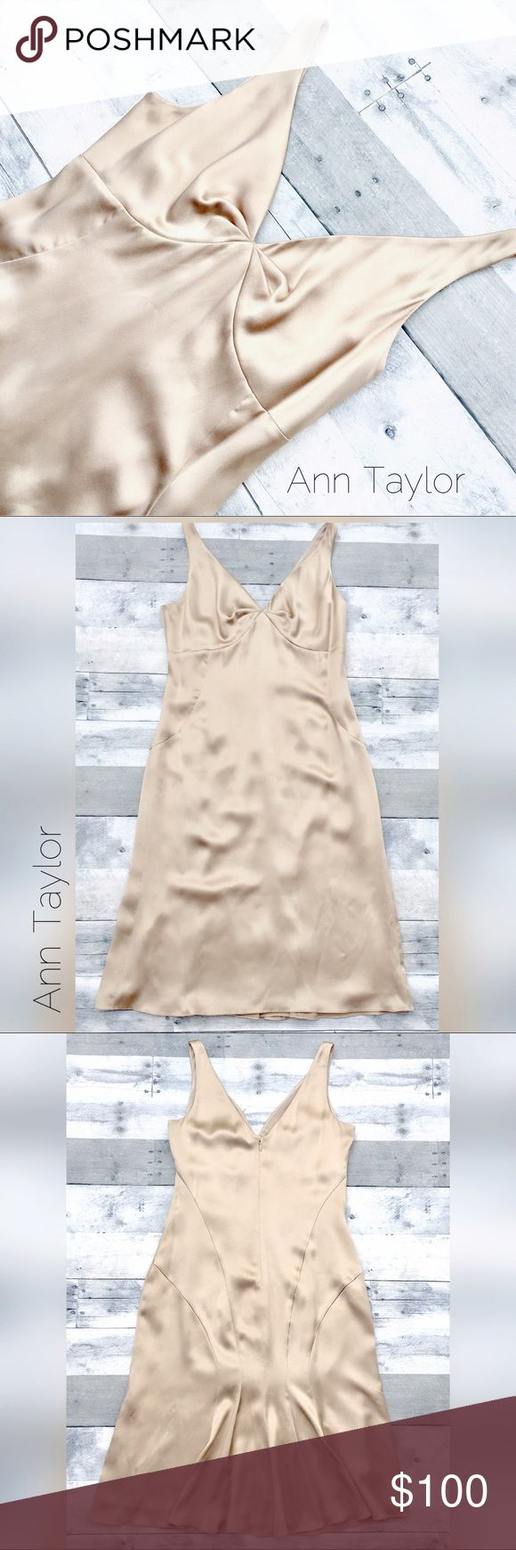 """NWT- Luxurious silk champagne cocktail dress Sexy, elegant and reminiscent of Hollywood glam...think Blake Lively.  100% silk dress features v in front and back.  Seaming is meant to absolutely be body con but in a fabulous classy way.  Flat lay measurements are approximately 20"""" from pit to pit; 41 1/2"""" length from shoulder to hem. Lined. Ann Taylor Dresses Midi"""