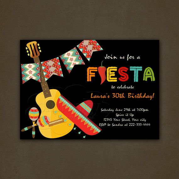 Mexican Fiesta Birthday Party Invitations, Printable File, Mexican Hat, Maracas, Guitar, Banner