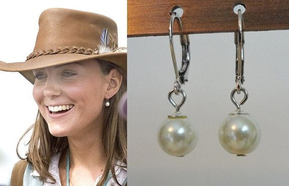 Kate Middleton White Pearl Drop Earrings Sterling by tudorshoppe, $8.00