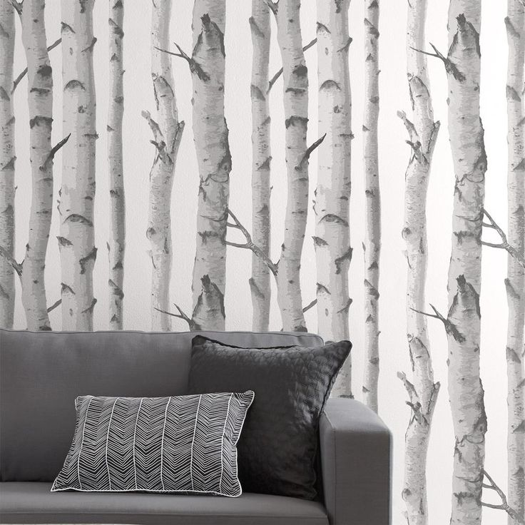 Birch trees wallpaper double roll birch tree wallpaper for Tree wallpaper for walls