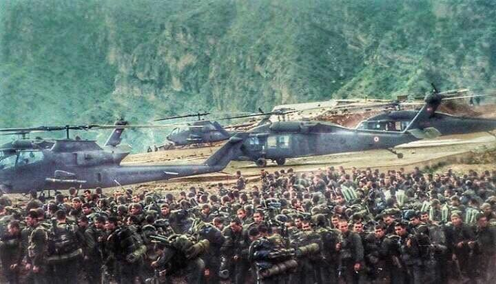 Turkish Army preparing for Operation Hammer 1997.  S-70, AH-1P Cobra helicopters, Special Forces and Bolu Mountain Commando Brigade.