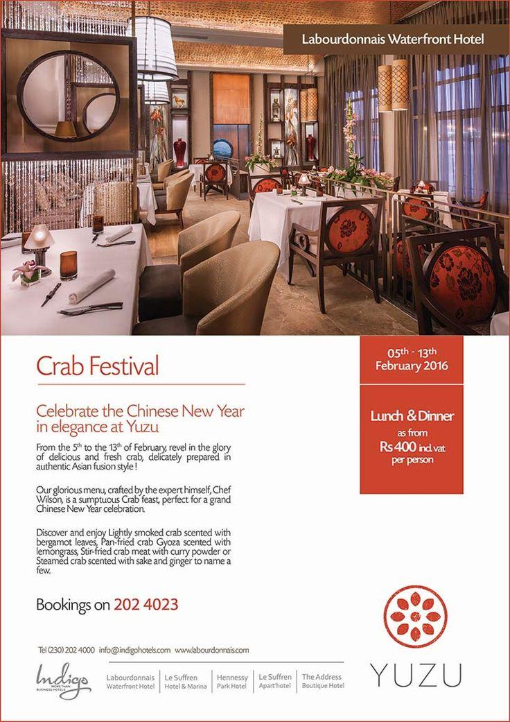 Labourdonnais Waterfront Hotel - Crab Festival at Yuzu Asian Fusion. Tel: 202 4023