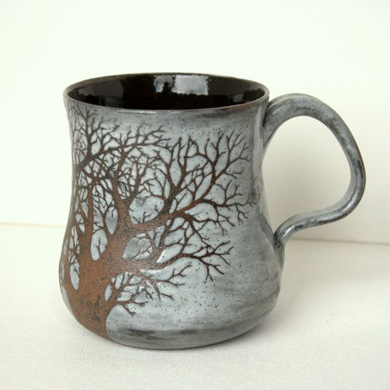 Large Rustic Sgraffito Tree Mug by TheMuddyRaven on Etsy, $49.00