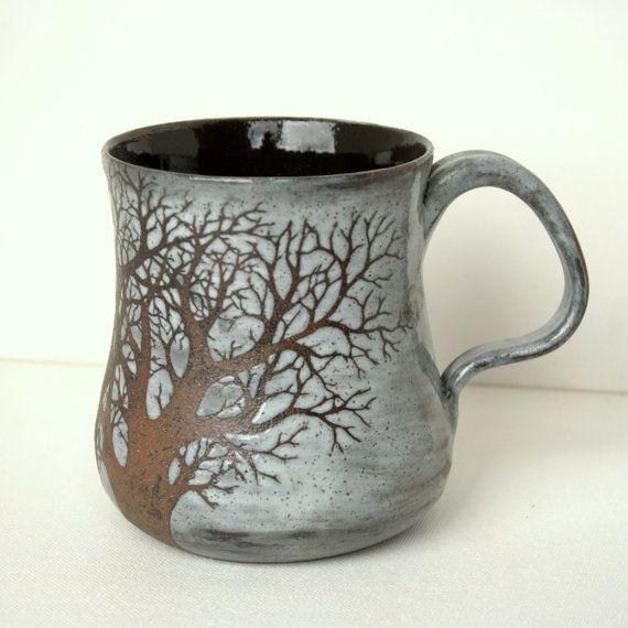 Large Rustic Sgraffito Tree Mug by TheMuddyRaven on Etsy, $49.00