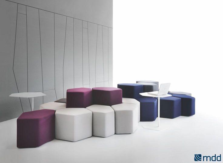 BAZALTO Upholstered pouf by MDD design Andreas Krob