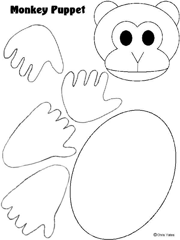 Monkey Paper Puppet Template