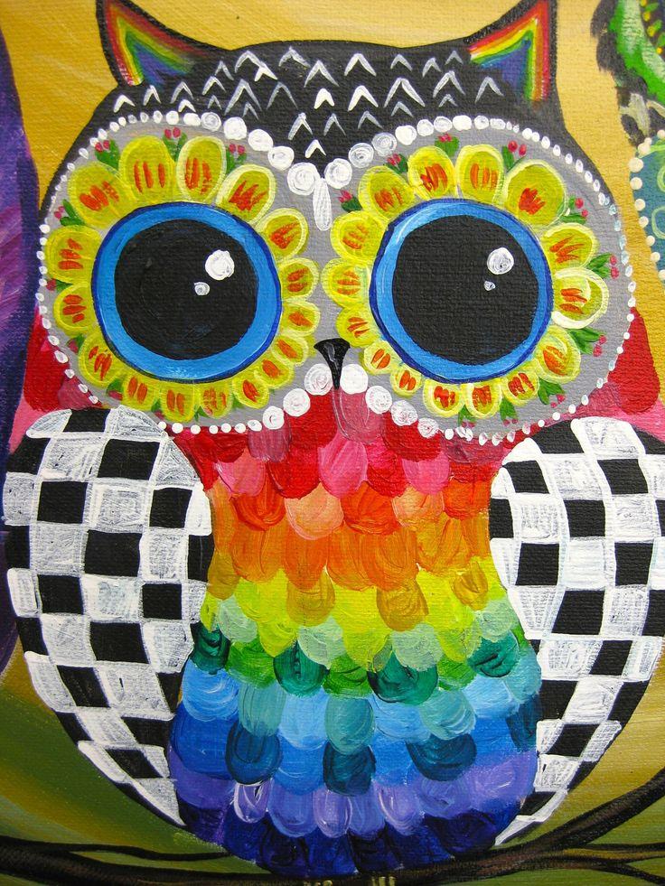 Family of owls detail par cinnamon cooney donna for Night owl paint color