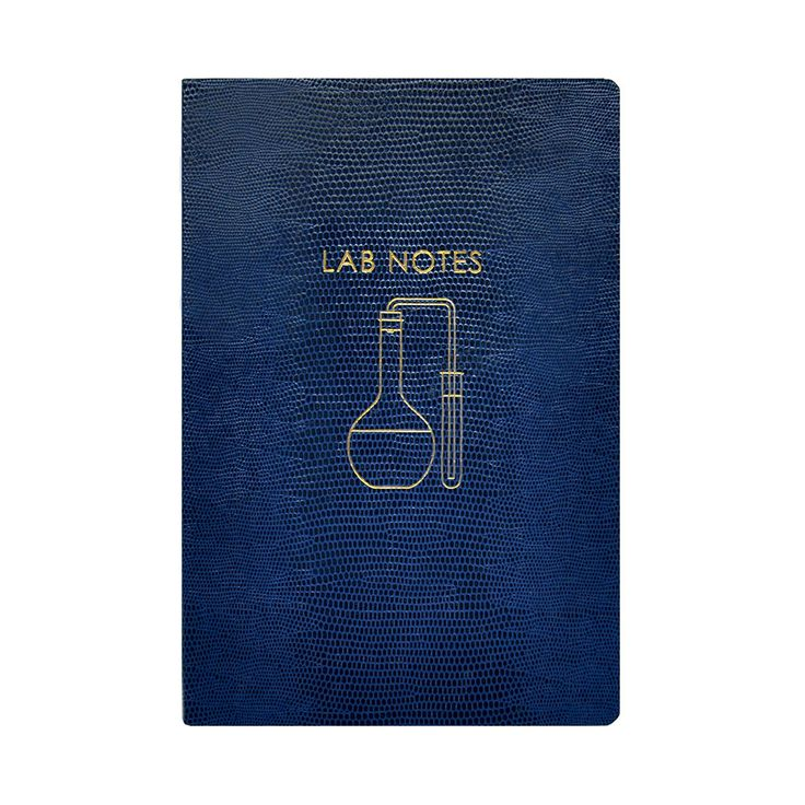 Amara | Keep track of your experiments with this Lab Notes notebook from Sloane Stationery. Featuring a dark blue softcover it is embossed with a lizard skin effect and finished with 'Lab Notes' text in g